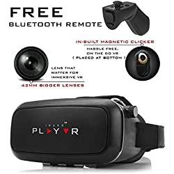 IRUSU PLAY VR Headset - vr headset with free bluetooth Remote controller - UPGRADED 42MM Fully Adjustable virtual reality lenses with FREE Bluetooth remote and Magnetic Clicker - VR glasses with HD Resin lenses .Virtual Reality glasses Works with leading android and ios mobiles like Apple iphone 6 and plus, Samsung, Xiaomi,Lenovo,Oneplus,Moto, LG, nexus,Google Pixel,LeEco le2 and other mobiles with gyroscope.Experience 360 videos, 3D and VR games like never before.