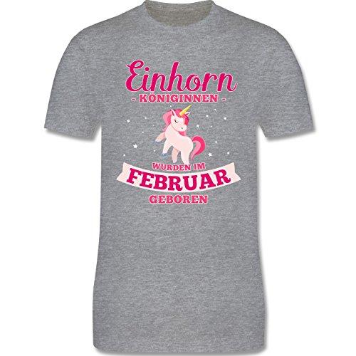 Shirtracer Geburtstag - Einhorn Königinnen Wurden IM Februar Geboren - Herren T-Shirt Rundhals Grau Meliert