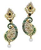 Kriaa Gold Plated Drop Earrings for Women (Green) (1305210)