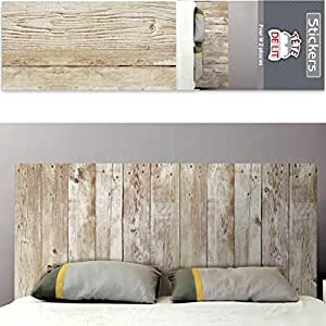 autocollant mural t te de lit planches de bois. Black Bedroom Furniture Sets. Home Design Ideas