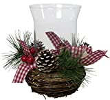 Christmas Paradise Echtholz Adventsgesteck mit Windlicht Weihnachtsgesteck