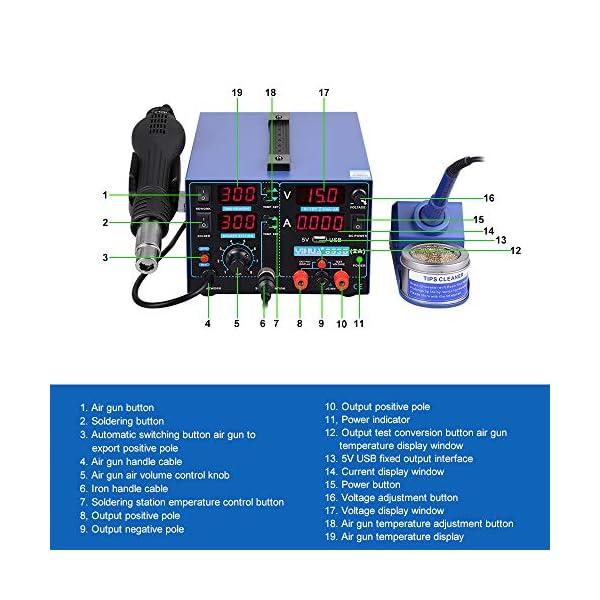 Digital Estacion de soldadura 3 en 1 SMD Kit del Soldador Eléctrico con