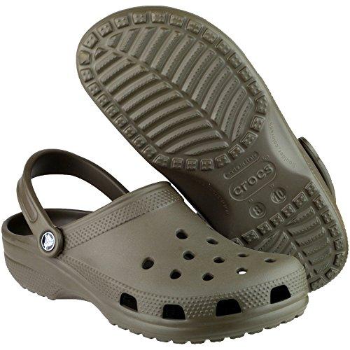 Crocs Mens Classic Unisex Croslite Breathable Strap Beach Clog Brown Brown
