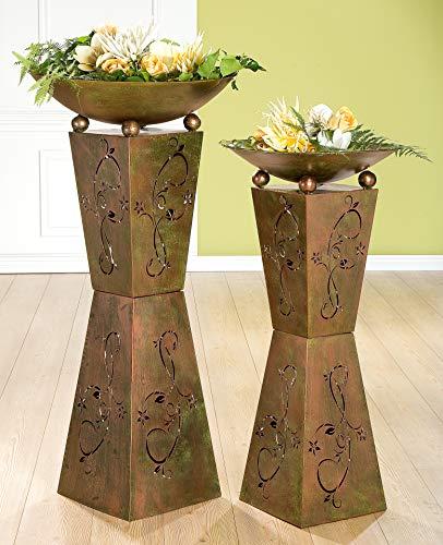 Gilde 1 x Schalenständer mit Schale Diabolo Metall Höhe 101 cm