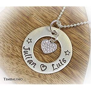 Silberkette mit Gravur Namen, Herzanhänger mit Zirkonia,Silber Kette mit Gravur