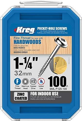 Kreg sml-f125-1001-1/4-Zoll 7-fine washer-head Pocket Schrauben, 100Stück