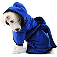 LA VIE Albornoz Capucha de Microfibra Suave para Mascotas Perros Toallas de Baño Absorbente Secado Rápido para Gatos Gatitos Cachorros Perros Pequeños Pet Dog Bathrobe Accesorios de Perro para la Ducha Multi-size M