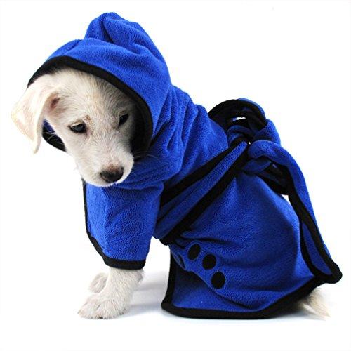 LA VIE Hundemantel Hund Trocknend Coat Soft Bequem Towling-Microfiber Schnelltrocknendfür Winter Hundehandtuch Mädchen Jungen Hund Kleidung für Kleine Mittlere Hunde Haustiere - Hund Mädchen-kleidung Kleiner