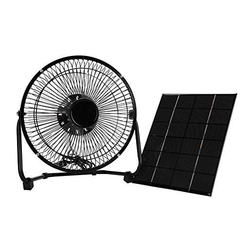 """Tbest Solar Ventilator Fan Lüfter Solar Panel Powered Fan 5,2 W 6 V Tragbare Mini USB Solar Fan Eisen Lüfter für Camping Home Office Outdoor Reisen Angeln 8\"""" Zoll"""