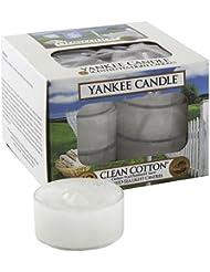 Yankee Candle 1016718E Boîte de 12 Lumignons Coton Frais Combinaison Blanc 8,6 x 8,5 x 6,3 cm