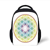 Kids School Backpack Ikat,Geometric Arrow Pattern Ethnic Tribal Designs Uzbek Motifs Surreal Traditional Boho,Multicolor Plain Bookbag Travel Daypack