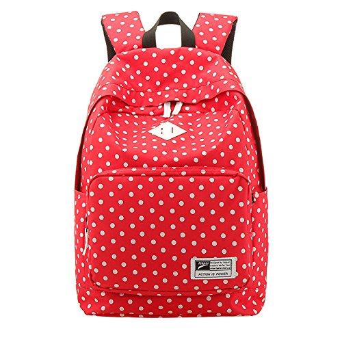 Sacchetto della scuola della ragazza Polka dot zaino Leggero Zaino scuola Canvas Casuale Dot Daypacks Per gli adolescenti Donne Zaini in tela sveglia Per Scuola / Outdoor / Viaggi rosso