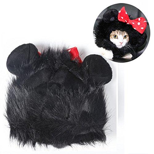 erücke Funny Cat Kitty Puppy Kostüm Kleine Katze Hund Halloween Hat Kleid bis Pet Keep Warm Cap mit Ohren, schwarz ()