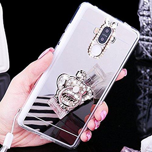 Custodia Cover per Huawei Honor 6X, Ukayfe Cover Specchio Lusso Placcatura Lucido di Cristallo di Scintillio Strass Diamante Glitter Caso per iPhone 7 Plus[Crystal TPU] [Shock-Absorption] Protettiva U Corona di Diamante Argento 1#