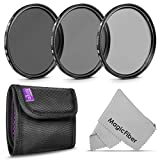 77MM Neutral Density Professional Photography Filter Set (ND2 ND4 ND8) + Premium MagicFiber Microfiber Cleaning Cloth