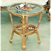 Tavolo rotondo rattan color tabacco con