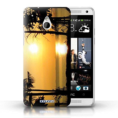 Kobalt® Imprimé Etui / Coque pour HTC One/1 Mini / bateaux conception / Série Coucher du Soleil arbres tropicaux