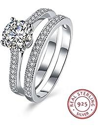 BALANSOHO anillo de compromiso para mujer de plata fina 925 con circonio cúbico en forma de