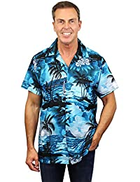 King Kameha | Funky Chemise Hawaïenne | Hommes | XS - 12XL | Manche-Courte | Poche-Avant | Hawaiian-Imprimer | Le Surf | Turquoise Foncé