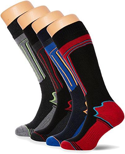 FM London Thermal Ski Socks Multipack Calze al ginocchio, Multicolore (Assorted), Taglia unica (Pacco da 4) Uomo