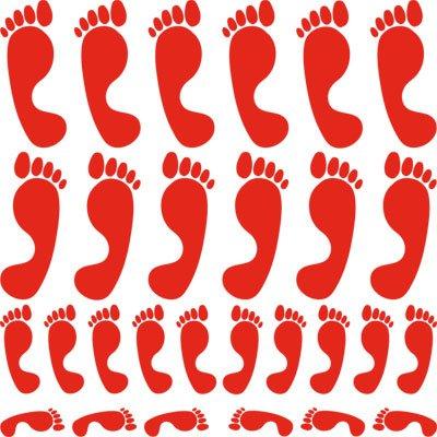 ufkleber Tuning Sticker Set Fußabdrücke Füße Paar (034 orange) (Fußabdruck-aufkleber)