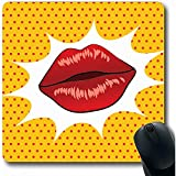 Mouse Pad,Kiss Yellow Drawing Lips Sexy Wet Lovers Red Retro Comic Cool Crash Design Non-Slip Rectangle Gaming Mouse Pad,18X22Cm