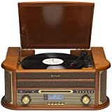 Denver MRD-51 DAB Retro Record Player Turntable Music Centre With CD Player, DAB