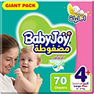 BabyJoy Compressed Diamond Pad, Size 4+, Large+, 12-21 kg, Giant Pack, 70 Diapers