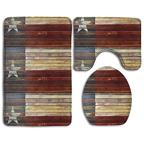 fengxutongxue Wood Texas Flag Non-Slip Bath Mat Set 3-Piece Soft Bath Rug Set Includes Bathroom Mat Contour Rug Lid Toilet Cover