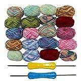 Kurtzy 20 Stück Wolle - Häkelgarn - 75 Meter Strickgarn - Wollgarn in Einer sortierten Farbe - häkelgarn Baumwolle Bündel Zum Pullover, Strickjacken, Kleidung, Decken