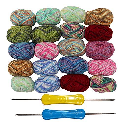 Strickgarn (20 x 25g) - Häkelgarn (75 Meters) mit 2 Häkelnadeln - Sortierten Mehrfarbig Acryl Wolle - Handstrickgarn - Baumwollgarn Zum Pullover, Strickjacken, Decken und Hobbys - Wolle zum Stricken -