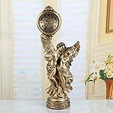 European-Style Retro-Stil Angel Clock Sprung-Sekunden Stille Bewegung der Sonnenuhr Harz Pendeluhr [Stockuhr]-A