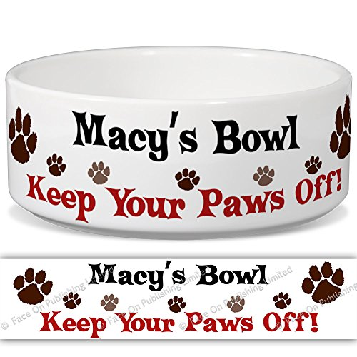 MACY 'S Schüssel-Keep Your Paws Off. Personalisiert Name Keramik Pet Futternapf-2Größen erhältlich