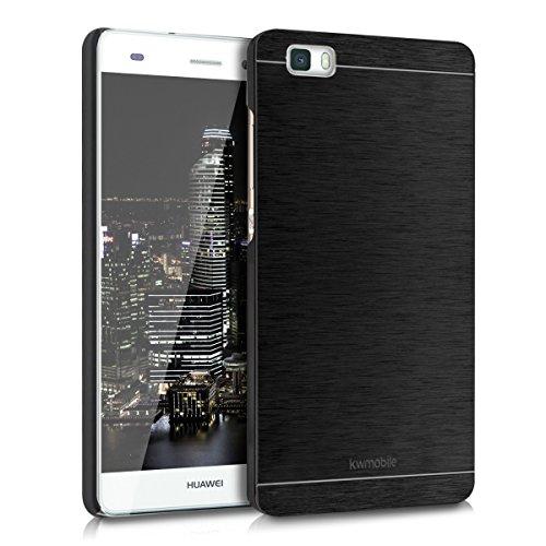 kwmobile Custodia rigida di gran pregio per > Huawei P8 Lite (versione 2015) < con dorso rinforzato in alluminio spazzolato, colore nero