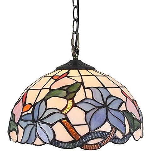 12 pulgadas de Pastoral de la vendimia de techo de cristal manchado rústico Eeuropeo estilo de la flor de la lámpara pendiente de la lámpara de la sala de la lámpara de Pasillo