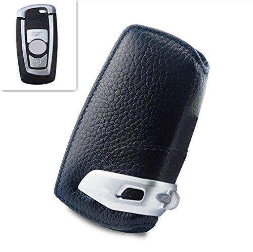 Preisvergleich Produktbild Happyit Auto echtes Leder Smart Key Cover Fall für F10 F20 F30 NEU 1 2 3 4 5 6 7 Serie X3 X4 320I 116I 118I 328I 530I Zubehör (Schwarz)
