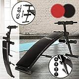 Banc à Abdominaux - Pliable, Réglable en Hauteur à 4 Positions (63-82cm) - Rouge ou Noir - Banc Sit Up, Musculation, Entraînement, Fitness