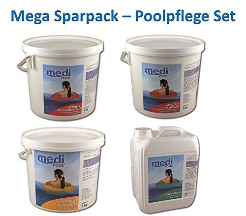 MEGA Spar-Pack 20 kg Poolpflege Set Chlor für große Schwimmbecken von mediPOOL mit Chlorgranulat, Langzeit-Chlotabletten, Algenschutz und pH-Minus Granulat