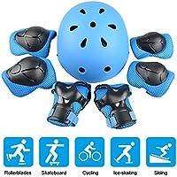 JIM'S STORE Kinder Sport-Schutzausrüstung 7PCS Knieschoner Ellenbogenschoner Handgelenkschutz Helm Schutzset zum Draussen Rollschuhlaufen Inline Skates Skateboarding Radfahren