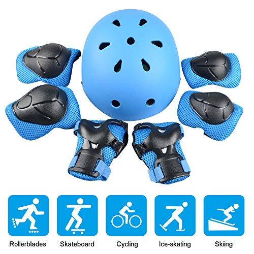 JIM'S STORE Kinder Sport-Schutzausrüstung, 7PCS Knieschoner Ellenbogenschoner Handgelenkschutz Helm Schutzset zum Draussen Rollschuhlaufen Inline Skates Skateboarding Radfahren (Blau)