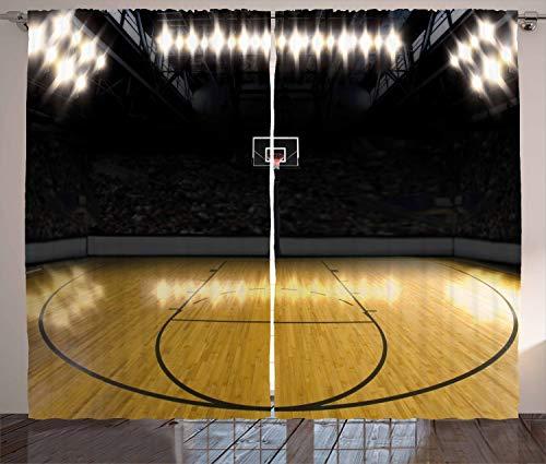 ABAKUHAUS Teen Zimmer Rustikaler Gardine, Leere Liga Arena, Schlafzimmer Kräuselband Vorhang mit Schlaufen und Haken, 280 x 260 cm, Blasser Kaffee Schwarz