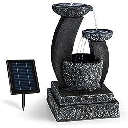 blumfeldt Fantaghiro • Zierbrunnen • Gartenbrunnen • 3 Ebenen • 250L/h Pumpleistung • 3 Watt Solarpanel • 300 cm² Photovoltaikfläche • 2000 mAh Akku • max 6h Akku-Betrieb • LED-Beleuchtung • schwarz