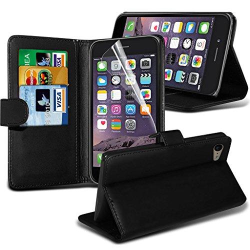 Fone-Case Red Apple iPhone 6S Plus étui Cover Case Portefeuille exécutif Cover style Made De PU cuir avec 3 fentes de crédit titulaire de la carte, 1 Protecteur d'écran et 1 code couleur aluminium rég Black Wallet Case