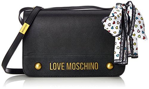 Gold Krawatten-tasche (Love Moschino Damen Nappa Grain Pu Nero Schultertasche, schwarz (Black), 6 x 19 x 28 cm)