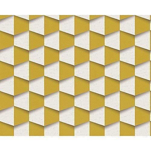AS Creation Quadratisches Muster 3D Effect Abstrakt Strukturiert Faservliestapete - Gelb Weiß 960181
