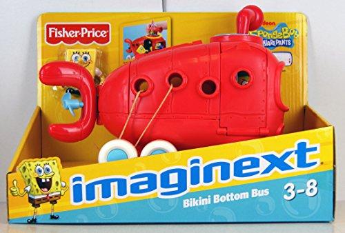 Fisher Price - Imaginext - Exklusive Fahrzeug - Bikini Bottom Bus mit SpongeBob Schwammkopf Figur - 92405