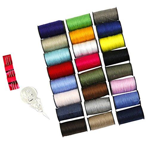 MagiDeal 24x Nähgarn Polyester Multi Farben Set Sewing Thread Nähset mit Nadeleinfädler Nadeln (Jean Thread)