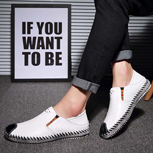 ZXCV Scarpe all'aperto Scarpe da uomo scarpe di lychee pelle piselli scarpe scarpe pigri Bianca