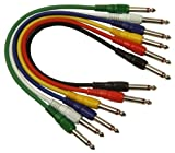 Lot de 6 couleur 1 m Single Core Screened 6,35 mm jack mono 6,35 mm mono Jack G113CC Electrovision plug