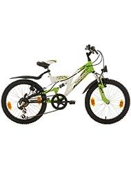 KS Cycling Kinder Kinderfahrrad Mountainbike Fully Zodiac RH 31 cm Fahrrad, Weiß-Grün, 20